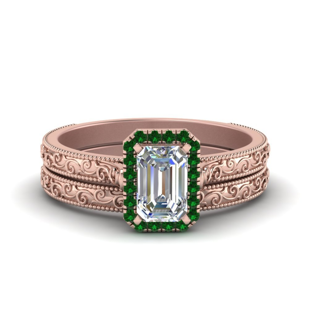 Hand Engraved Emerald Cut Halo Diamond Wedding Ring Set With Emerald In 18K Rose Gold