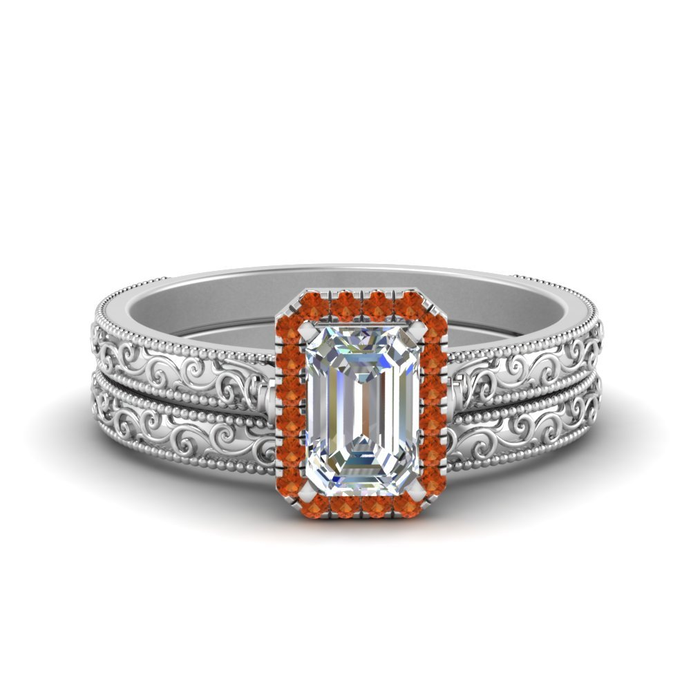 Hand Engraved Emerald Cut Halo Diamond Wedding Ring Set With Orange Sapphire In 14K White Gold