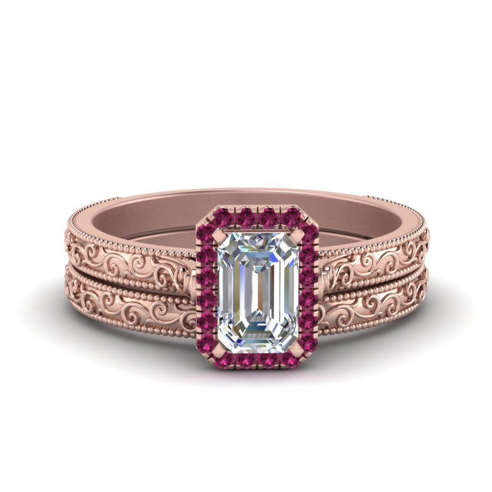 Hand Engraved Emerald Cut Halo Diamond Wedding Ring Set With Pink Sapphire In 14K Rose Gold