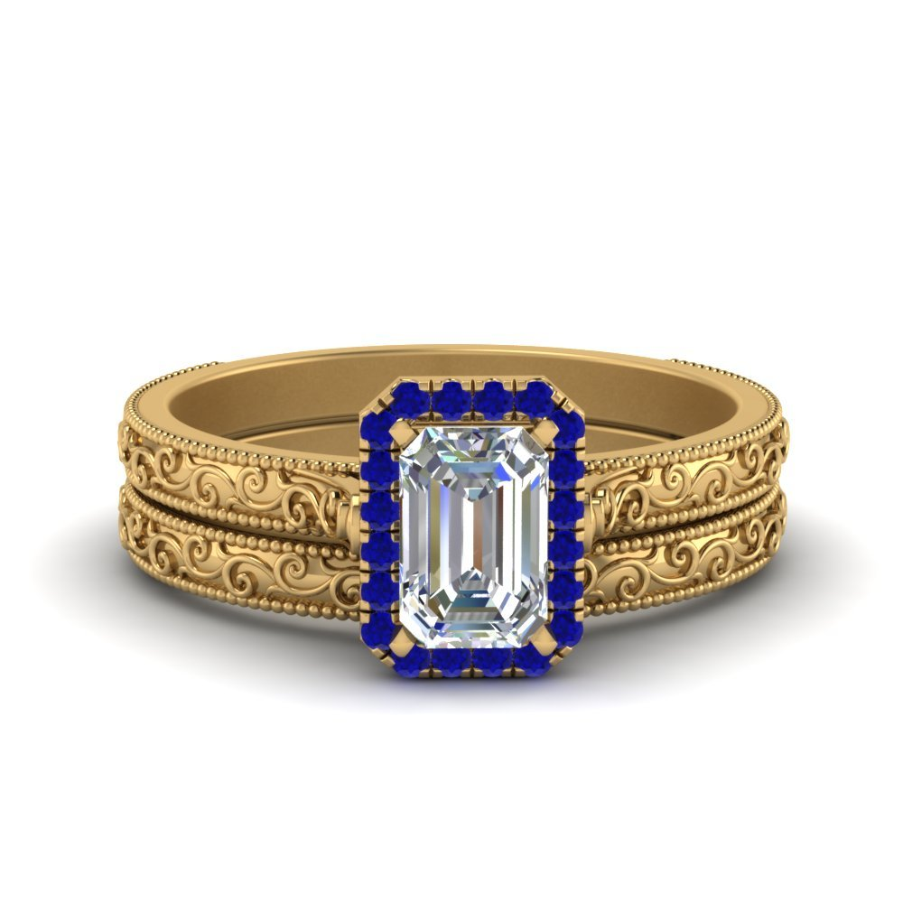 Hand Engraved Emerald Cut Halo Diamond Wedding Ring Set With Sapphire In 14K Yellow Gold