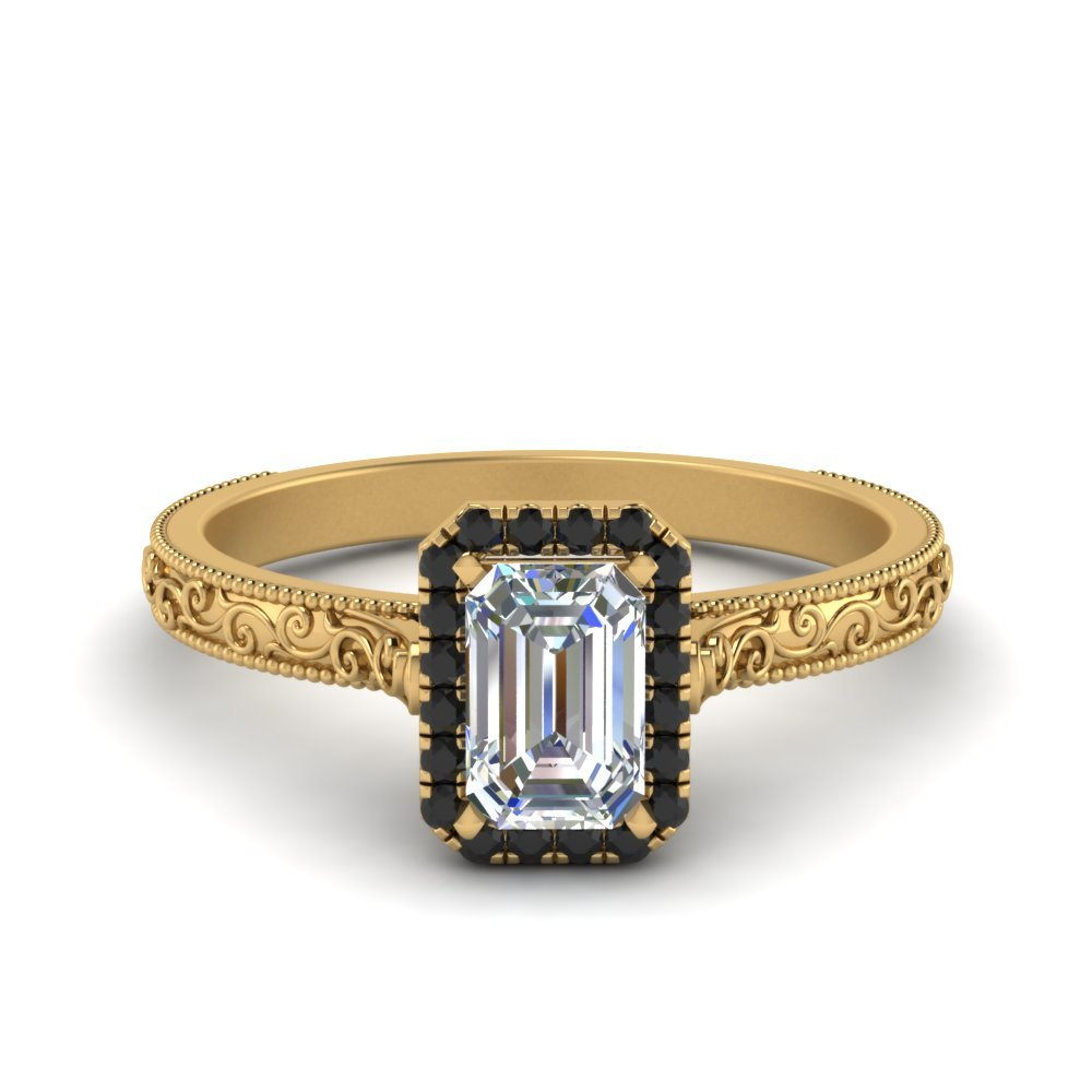 Hand Engraved Emerald Cut Halo Engagement Ring With Black Diamond In 14K Yellow Gold