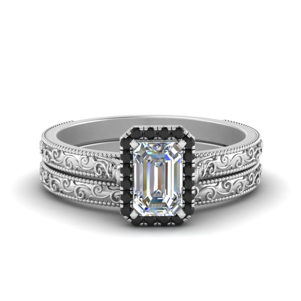 Hand Engraved Emerald Cut Halo Wedding Ring Set With Black Diamond In 18K White Gold