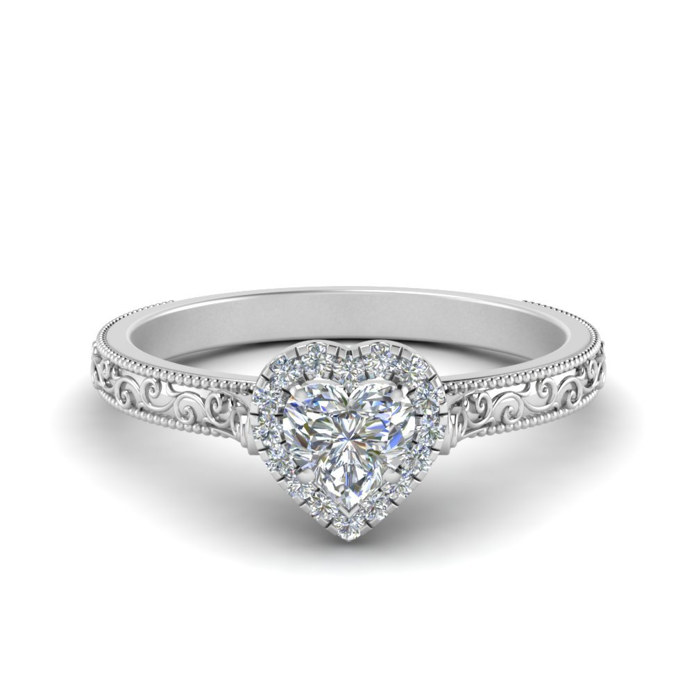 Hand Engraved Heart Shaped Halo Diamond Engagement Ring In 14K White Gold