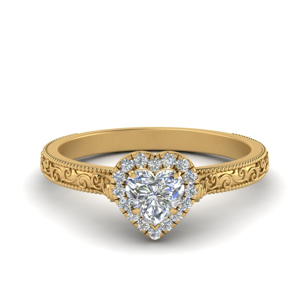 Hand Engraved Heart Shaped Halo Diamond Engagement Ring In 14K Yellow Gold