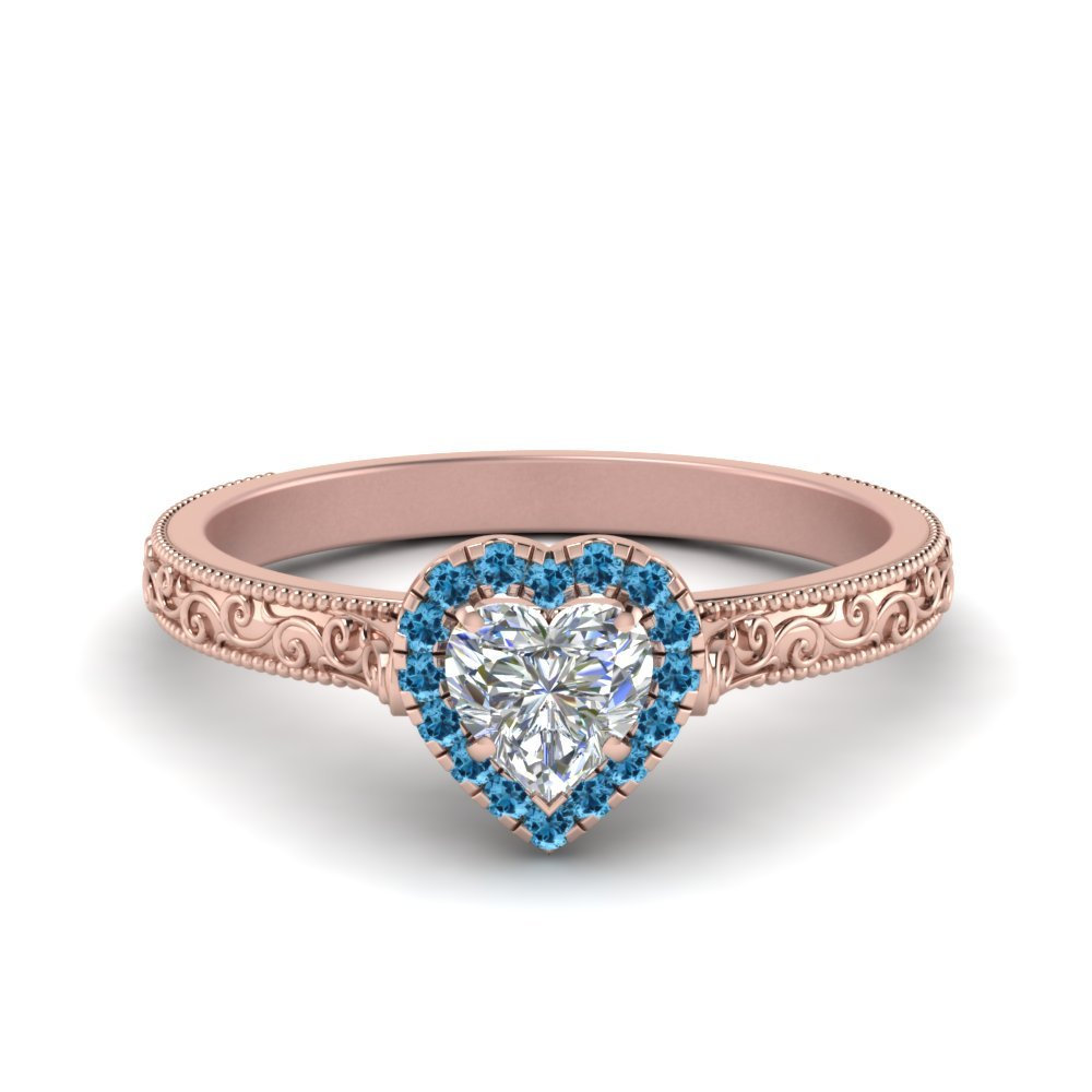 Hand Engraved Heart Shaped Halo Diamond Engagement Ring With Blue Topaz In 14K Rose Gold