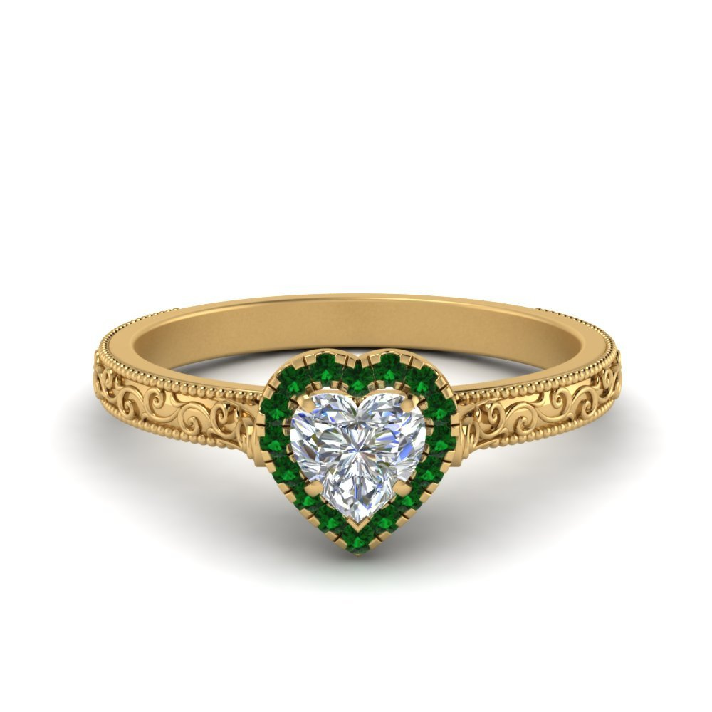 Hand Engraved Heart Shaped Halo Diamond Engagement Ring With Emerald In 14K Yellow Gold