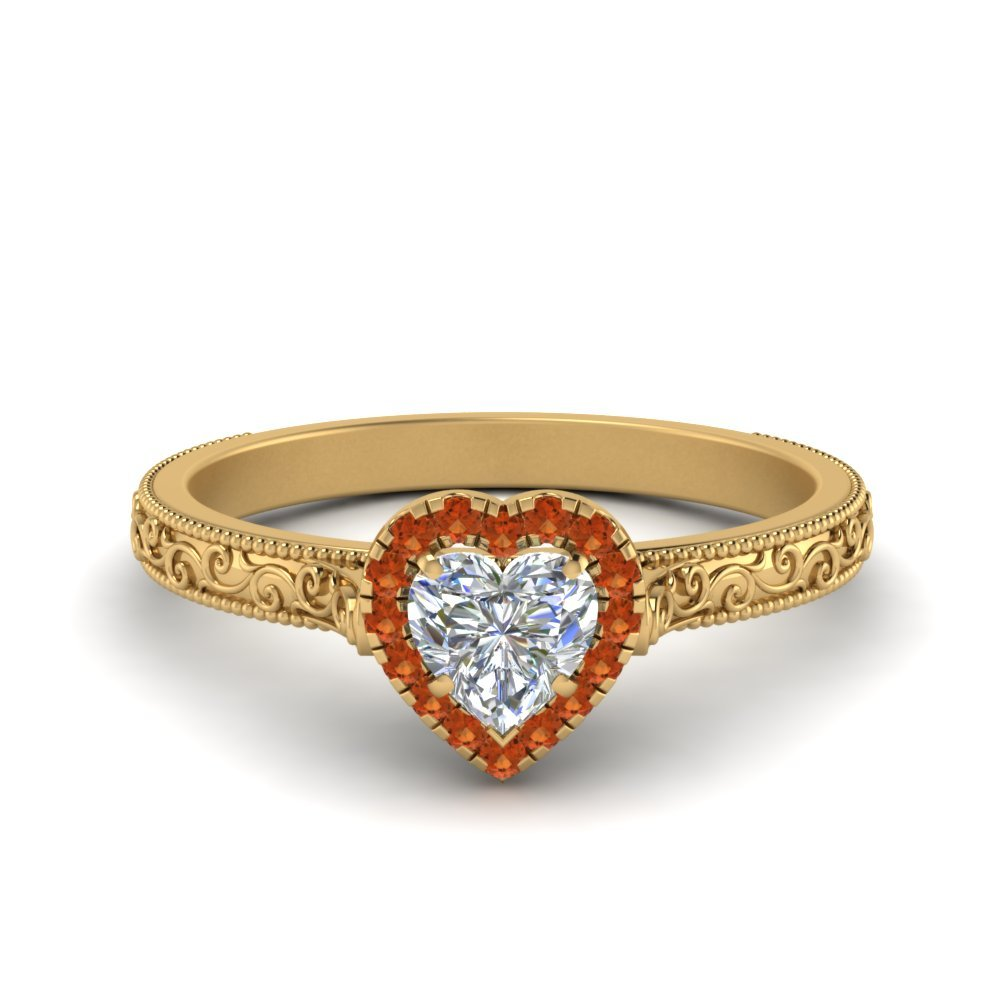 Hand Engraved Heart Shaped Halo Diamond Engagement Ring With Orange Sapphire In 14K Yellow Gold