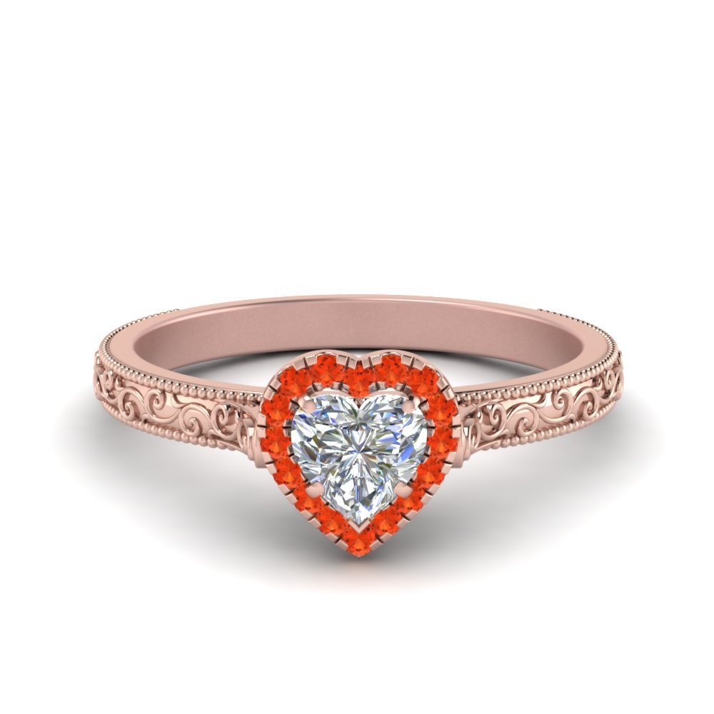 Hand Engraved Heart Shaped Halo Diamond Engagement Ring With Orange Topaz In 14K Rose Gold