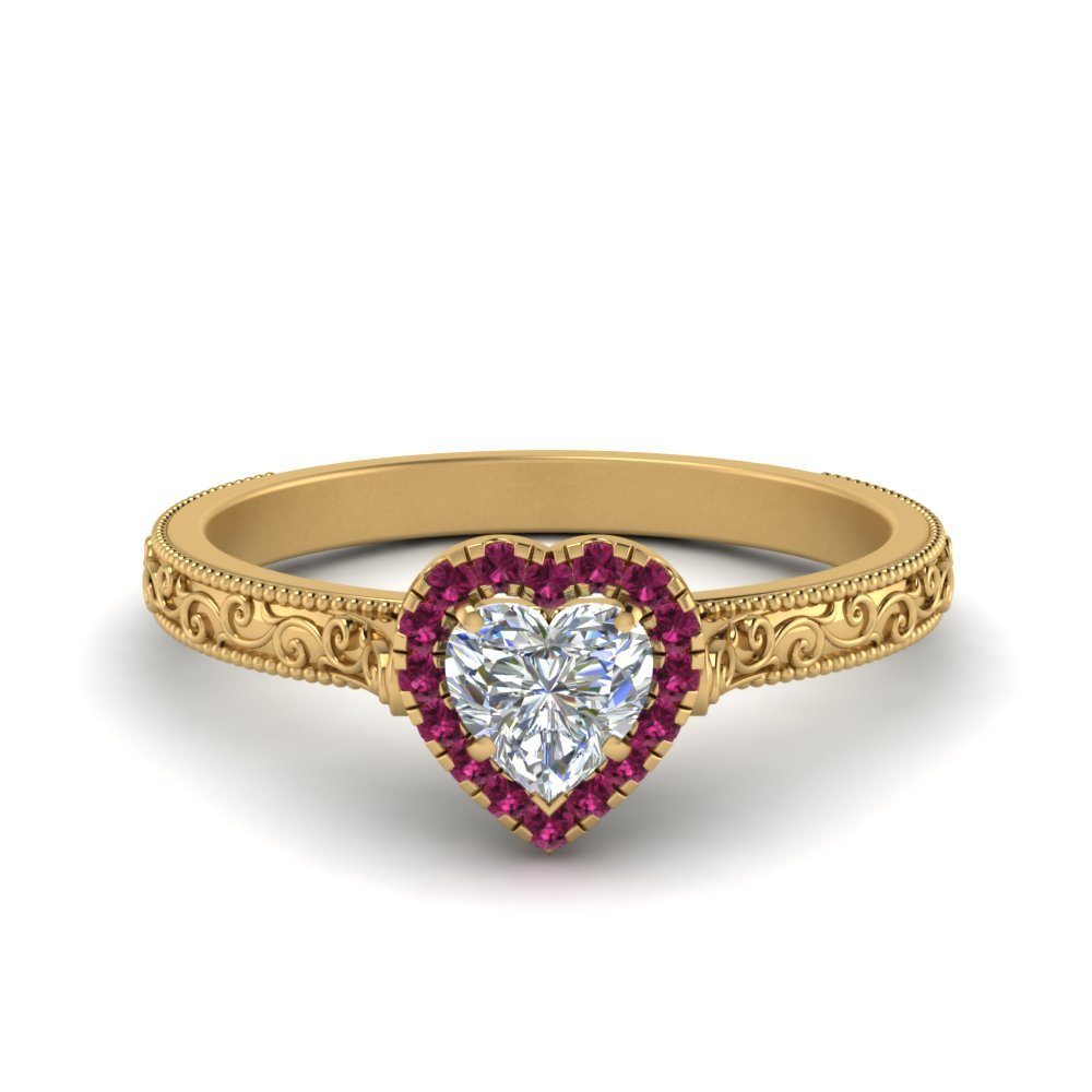 Hand Engraved Heart Shaped Halo Diamond Engagement Ring With Pink Sapphire In 14K Yellow Gold