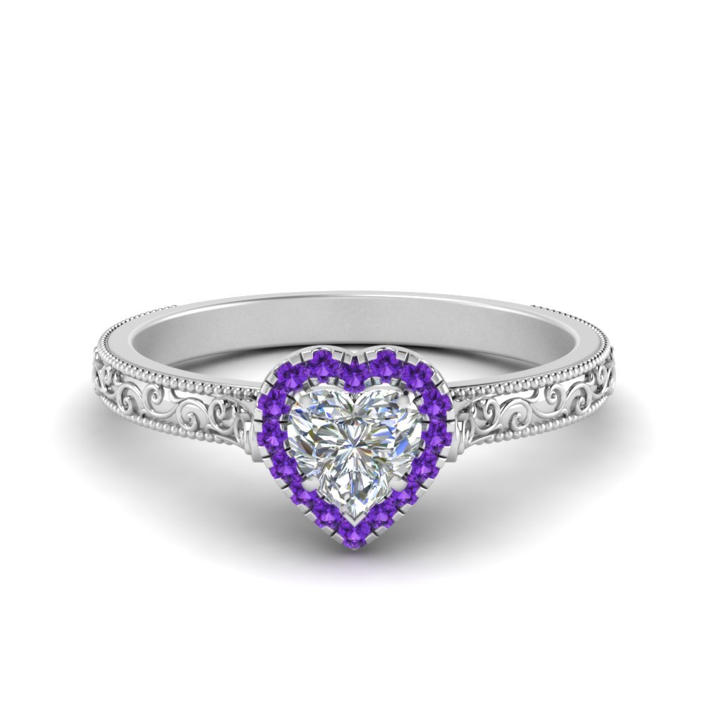 Hand Engraved Heart Shaped Halo Diamond Engagement Ring With Purple Topaz In 18K White Gold