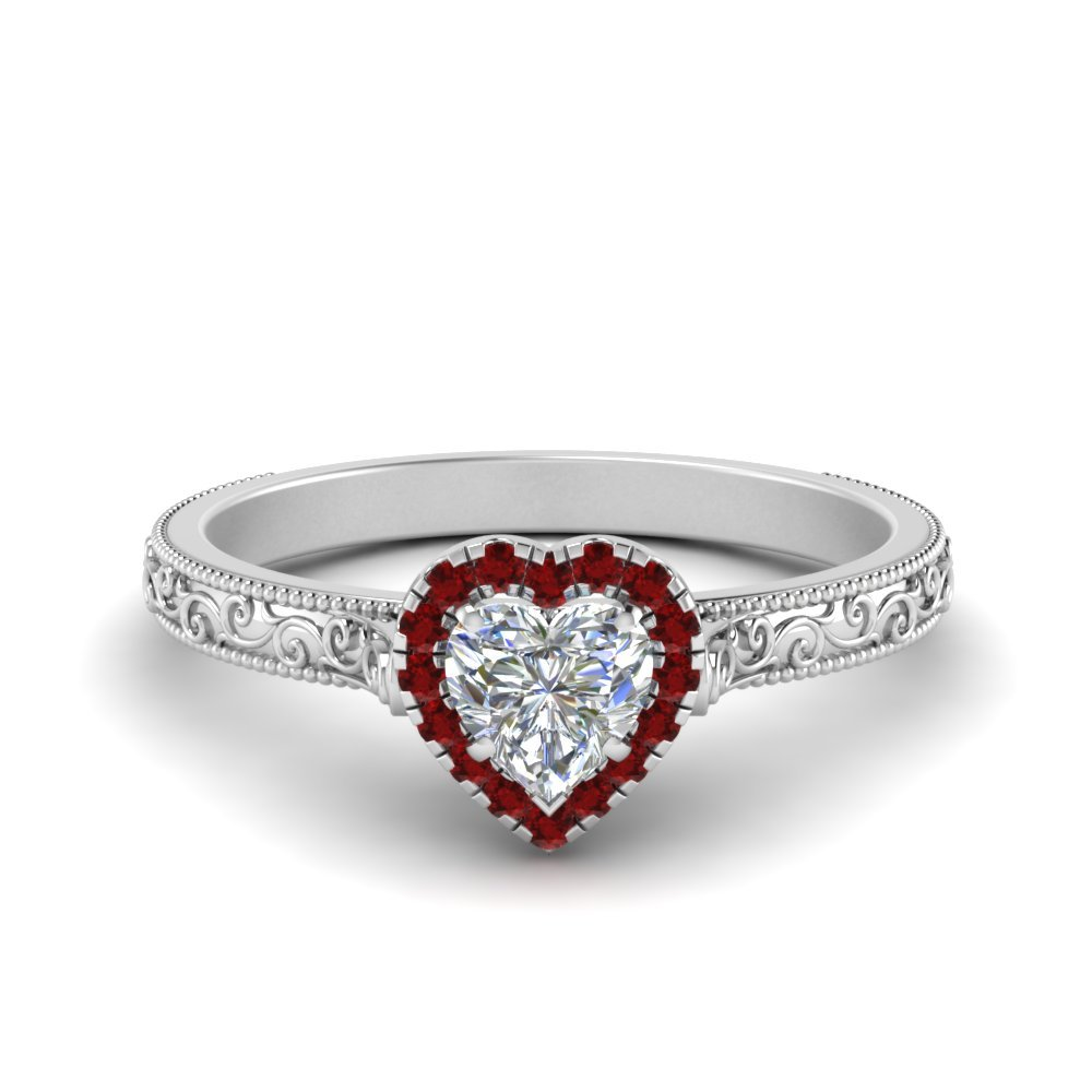 hand engraved heart shaped halo diamond engagement ring in. Black Bedroom Furniture Sets. Home Design Ideas