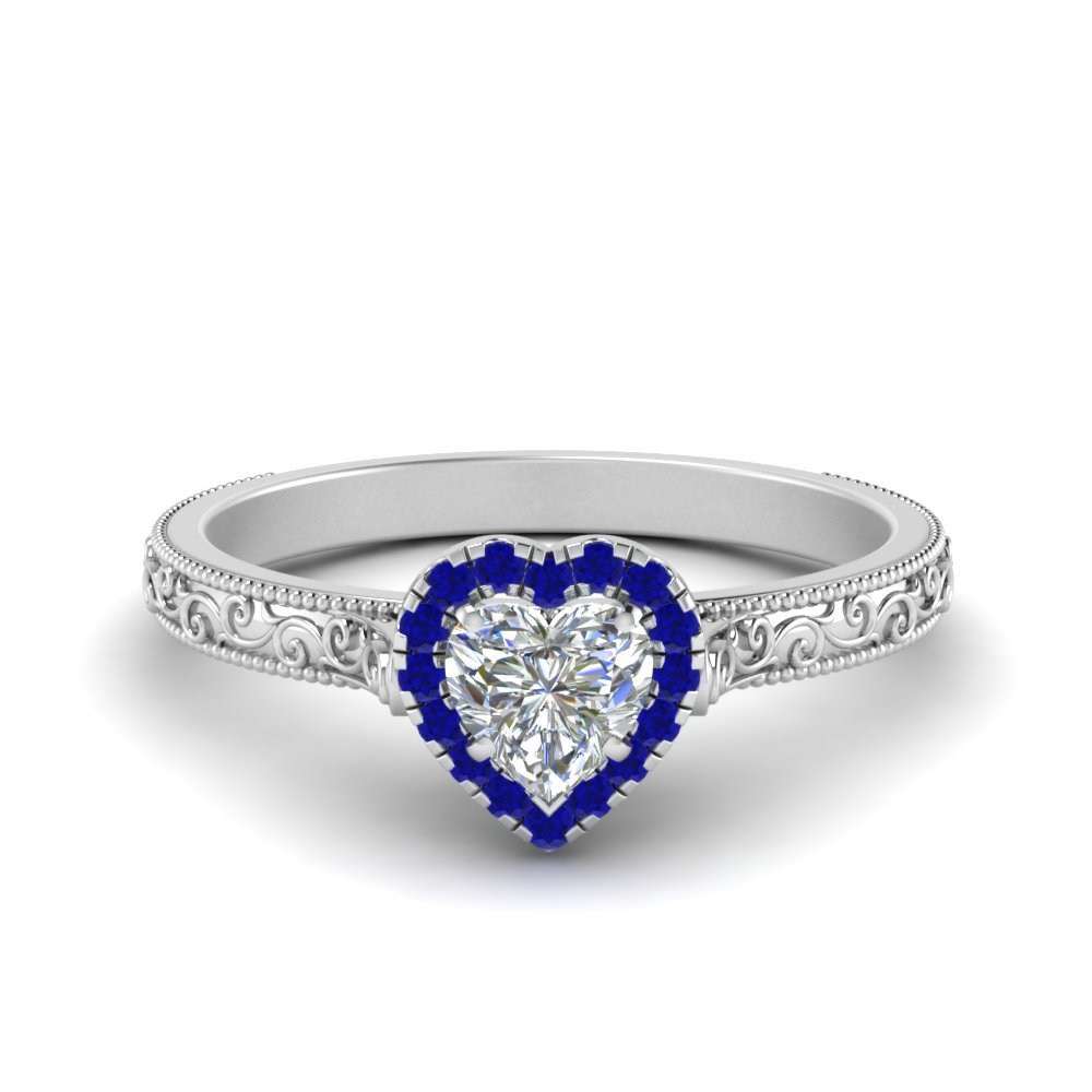 Hand Engraved Heart Shaped Halo Diamond Engagement Ring With Sapphire In 950 Platinum