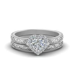 Hand Engraved Heart Shaped Halo Diamond Wedding Ring Set In 14K White Gold