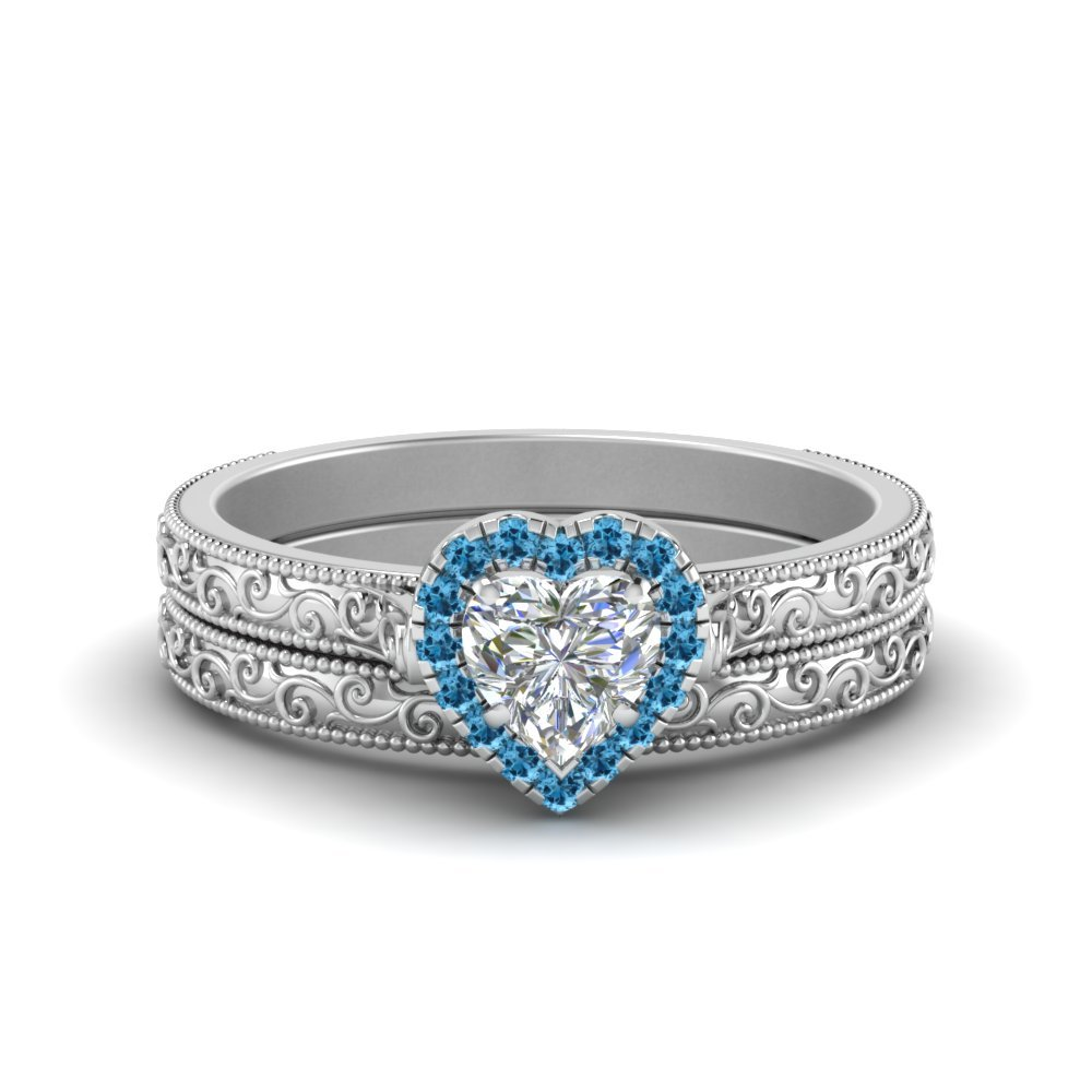 Engraved Blue Topaz Ring And Band