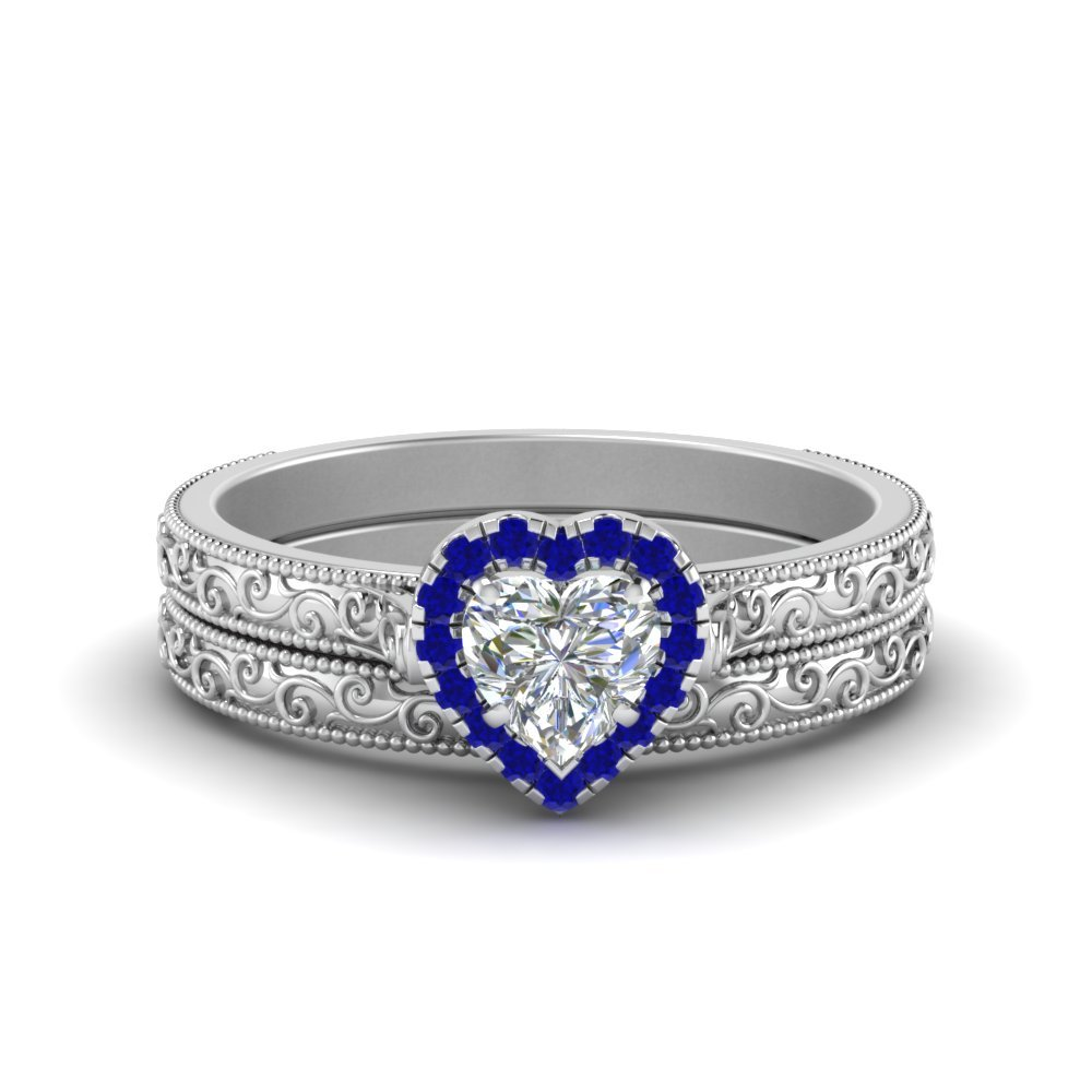 Hand Engraved Heart Shaped Halo Diamond Wedding Ring Set With Sapphire In 14K White Gold
