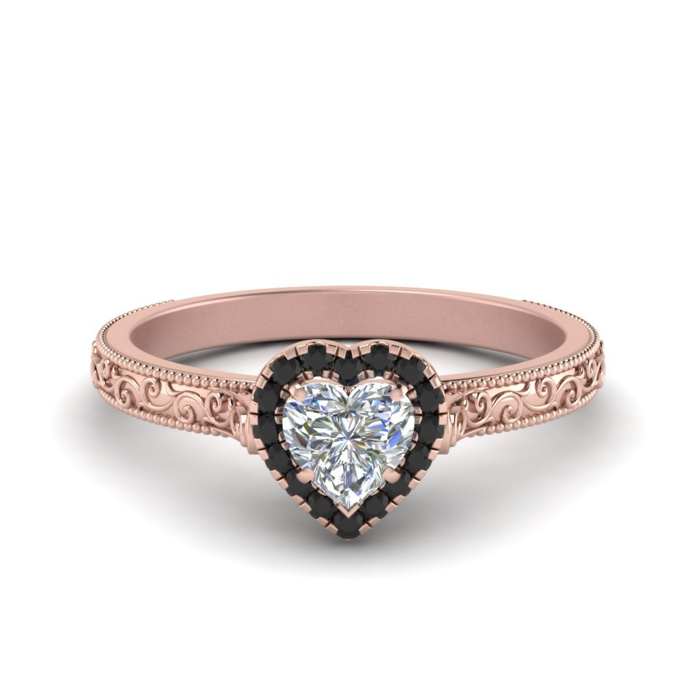 Hand Engraved Heart Shaped Halo Engagement Ring With Black Diamond In 18K Rose Gold