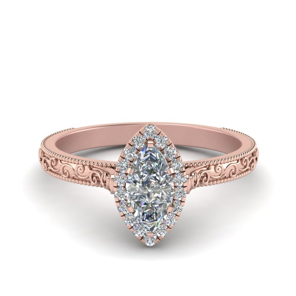 Hand Engraved Marquise Cut Halo Diamond Engagement Ring In 14K Rose Gold