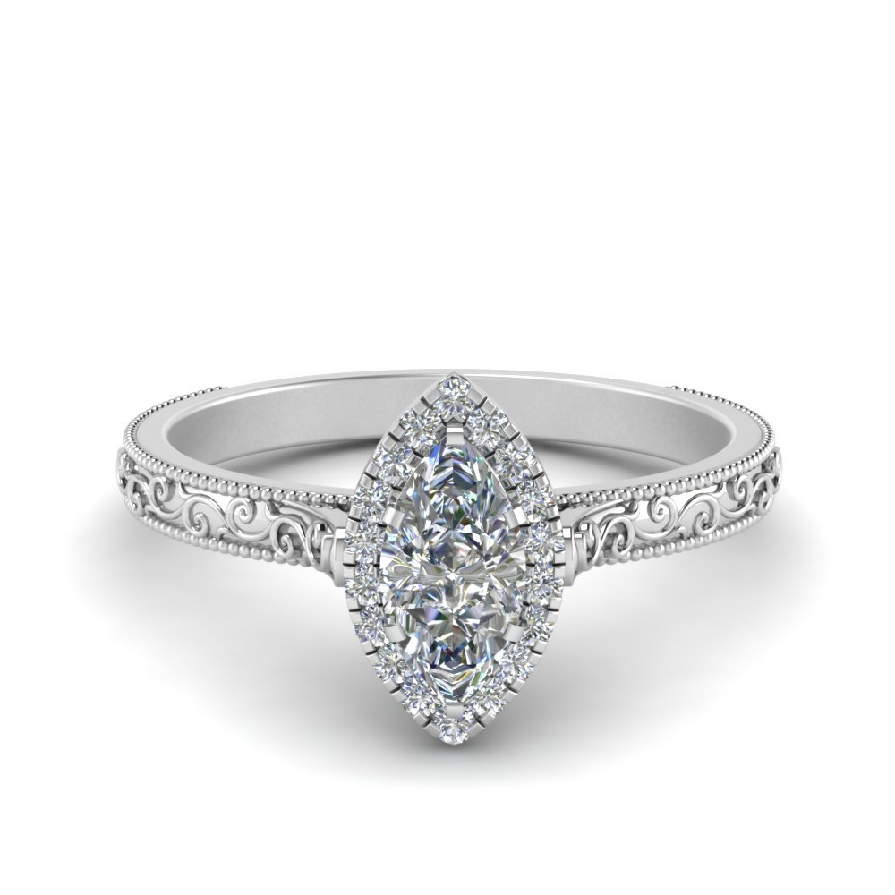 Engraved Marquise Cut Halo Ring