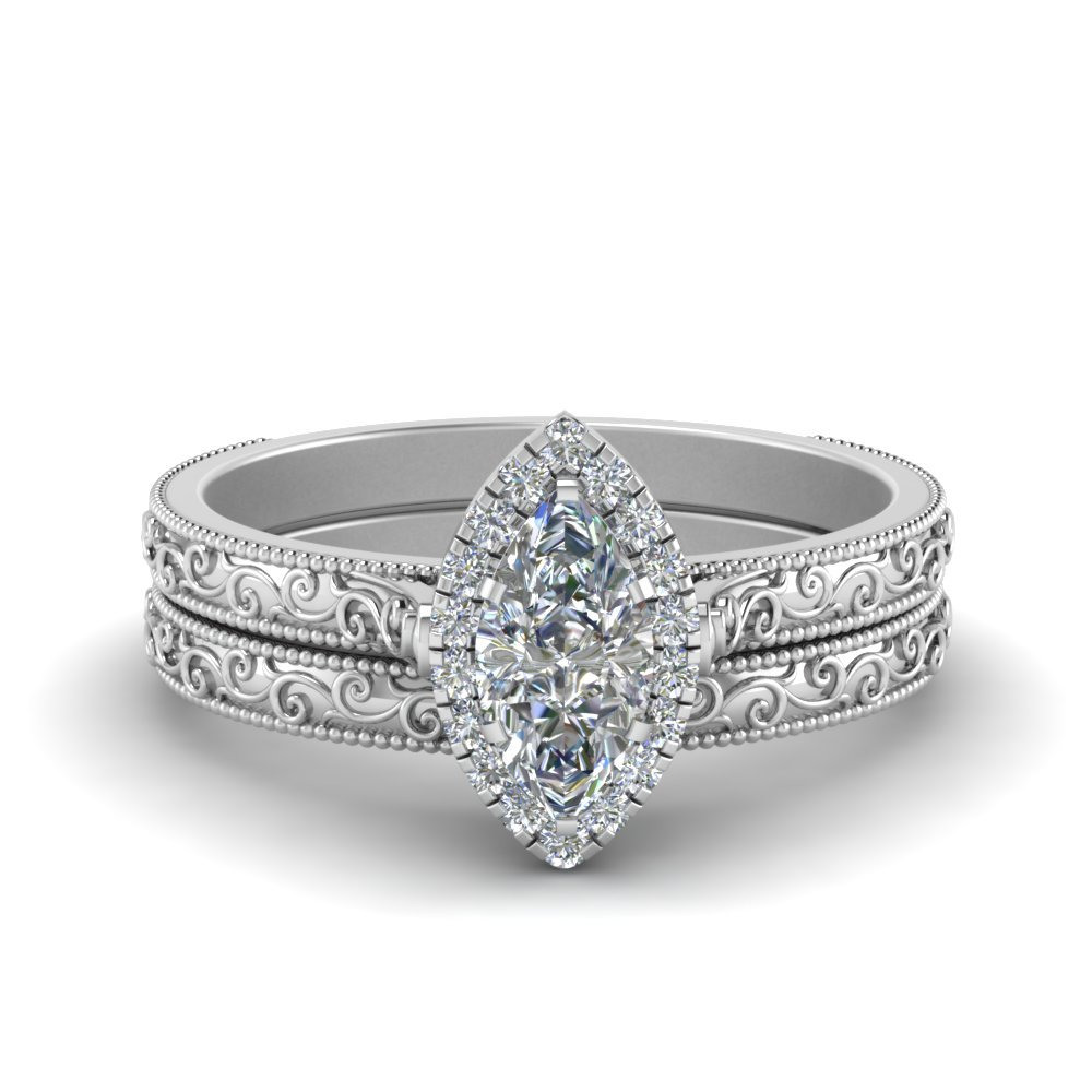 Marquise Cut Halo Ring And Band
