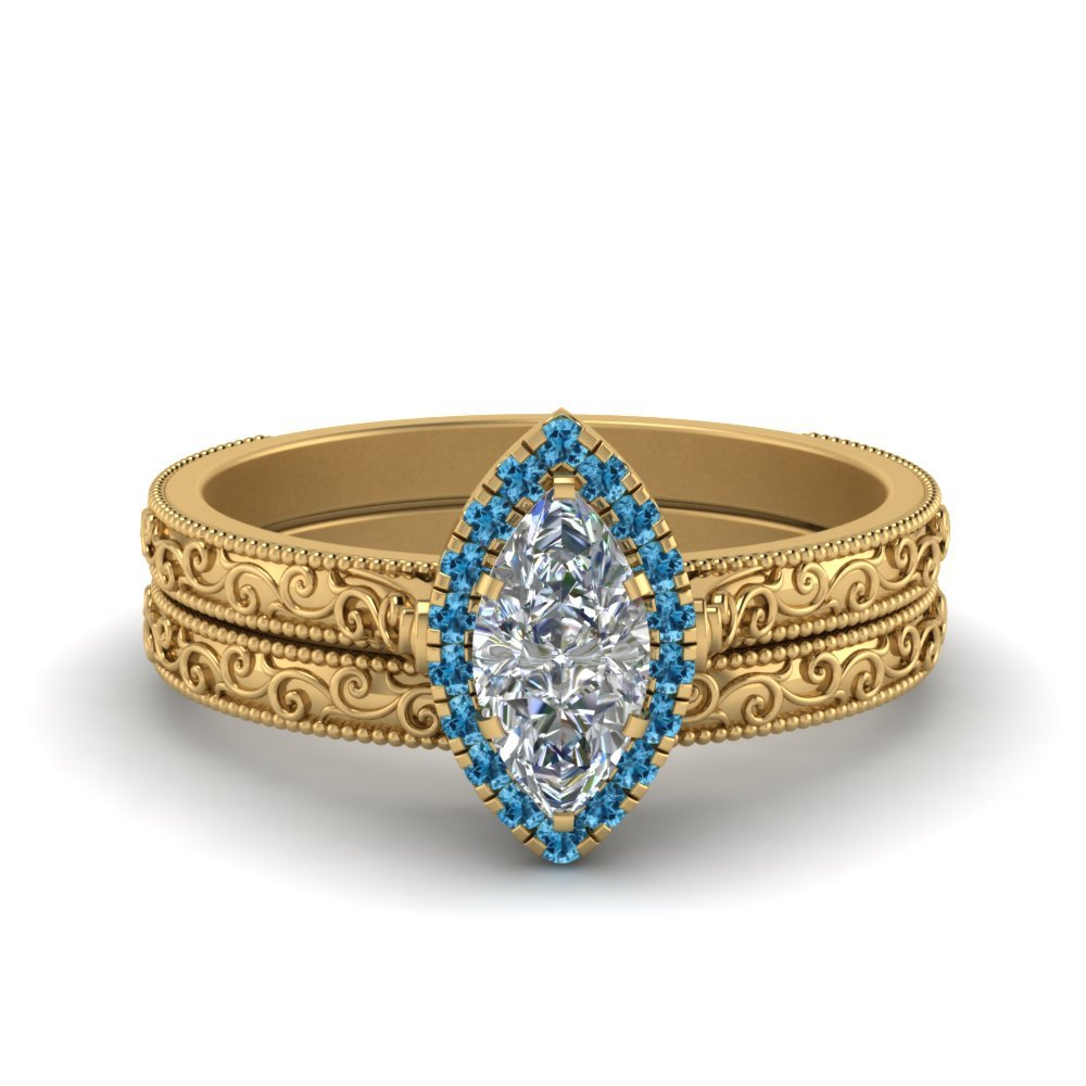 Hand Engraved Marquise Cut Halo Diamond Wedding Ring Set With Blue Topaz In 14K Yellow Gold