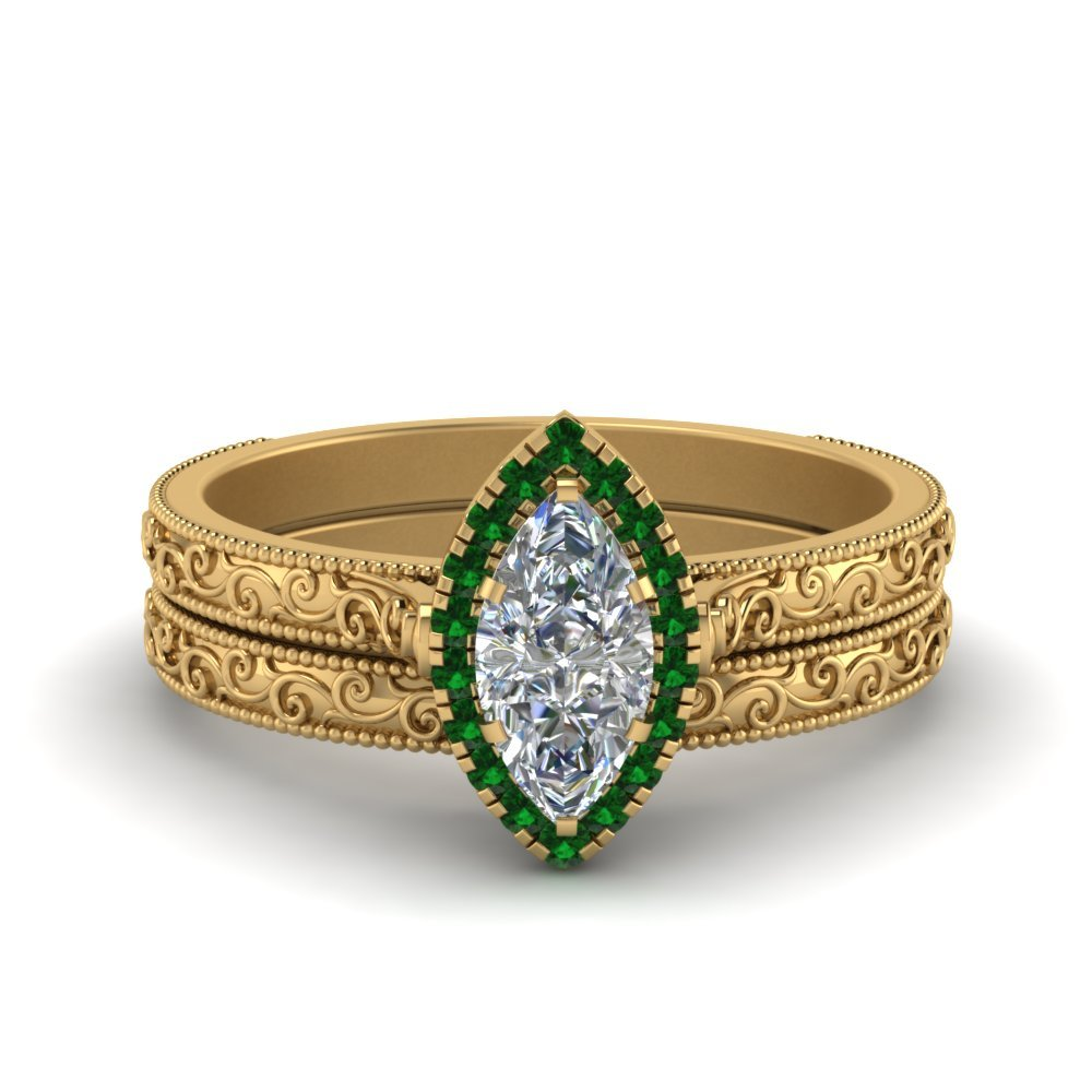 Hand Engraved Marquise Cut Halo Diamond Wedding Ring Set With Emerald In 18K Yellow Gold