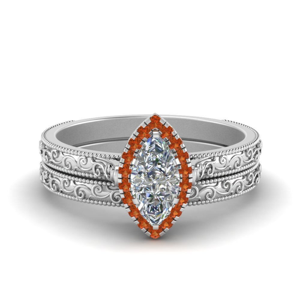 Hand Engraved Marquise Cut Halo Diamond Wedding Ring Set With Orange Sapphire In 14K White Gold