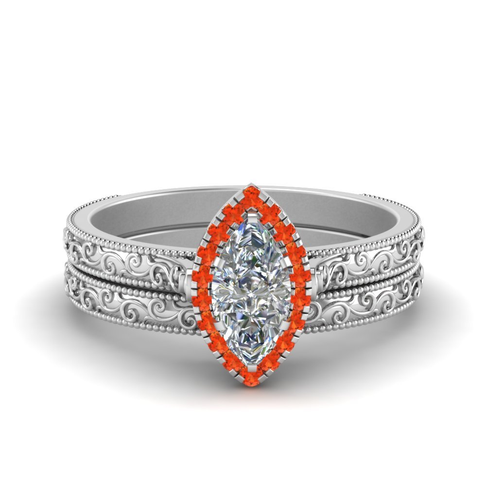 Hand Engraved Marquise Cut Halo Diamond Wedding Ring Set With Orange Topaz In 14K White Gold