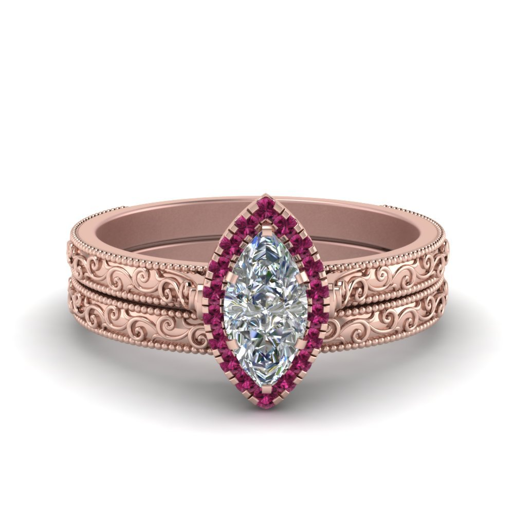 Hand Engraved Marquise Cut Halo Diamond Wedding Ring Set With Pink Sapphire In 14K Rose Gold