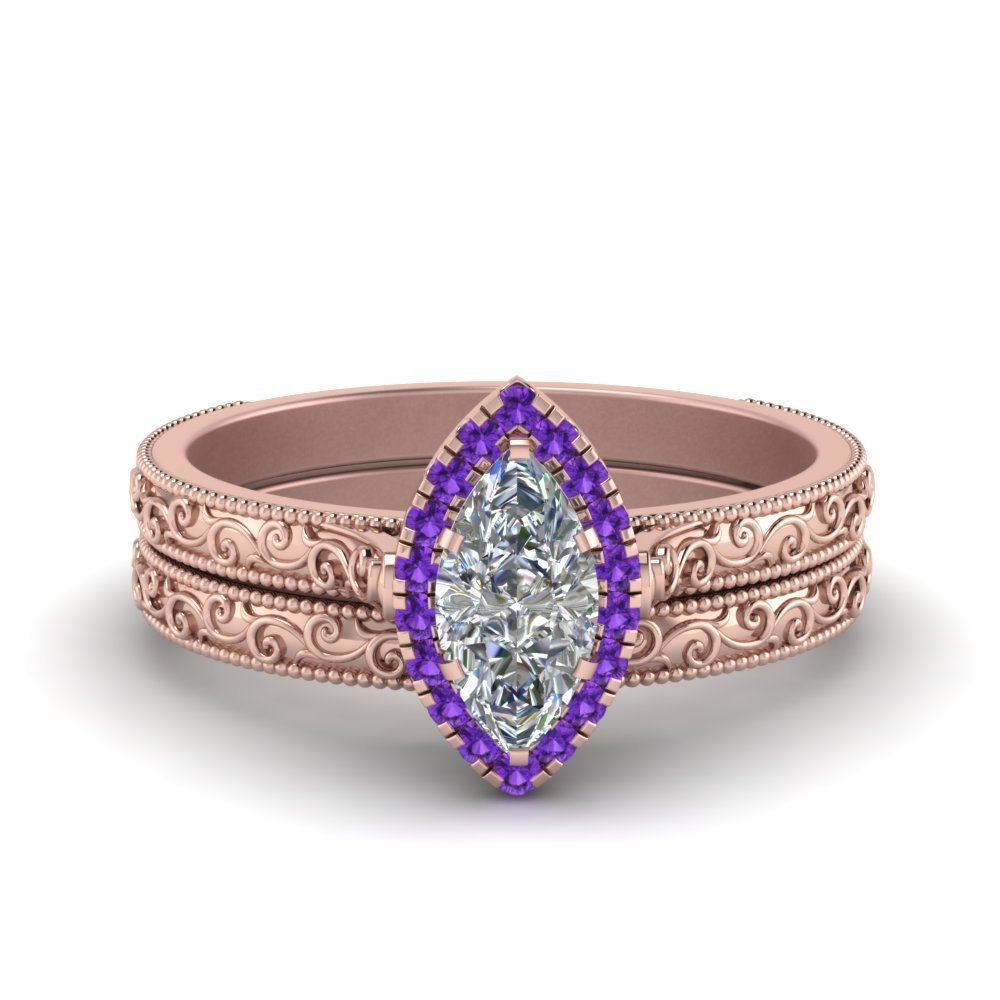 Hand Engraved Marquise Cut Halo Diamond Wedding Ring Set With Purple Topaz In 14K Rose Gold