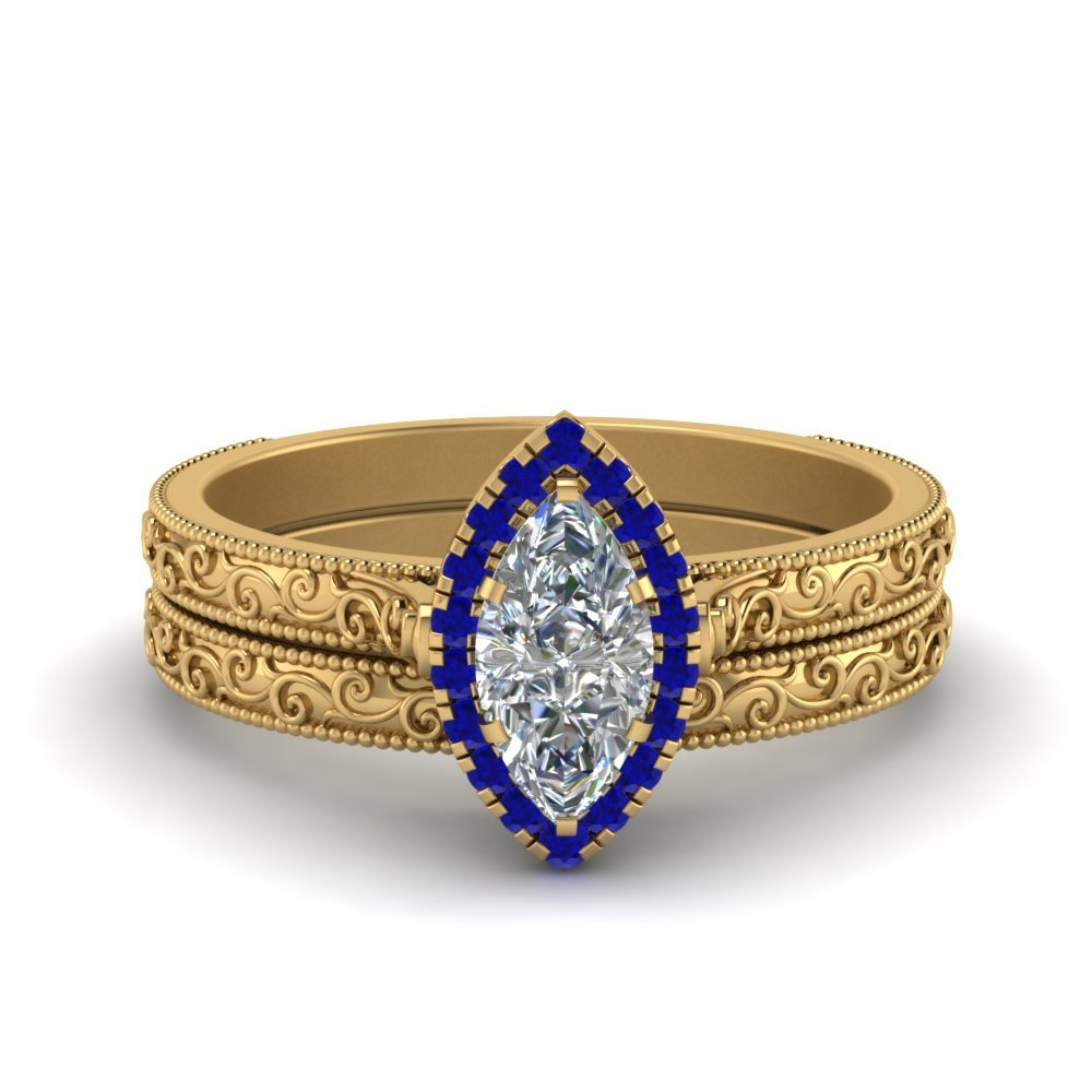 Hand Engraved Marquise Cut Halo Diamond Wedding Ring Set With Sapphire In 14K Yellow Gold