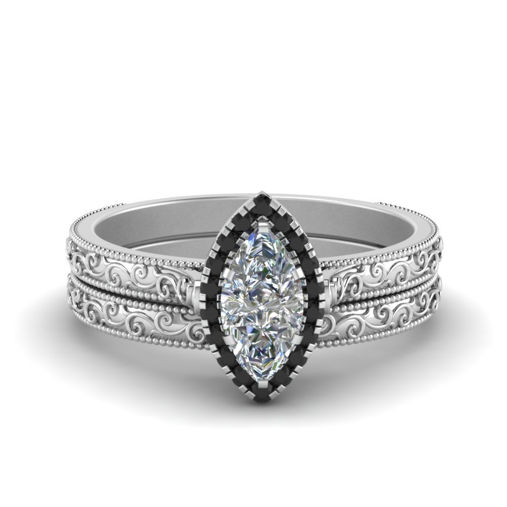 Hand Engraved Marquise Cut Halo Wedding Ring Set With Black Diamond In 18K White Gold