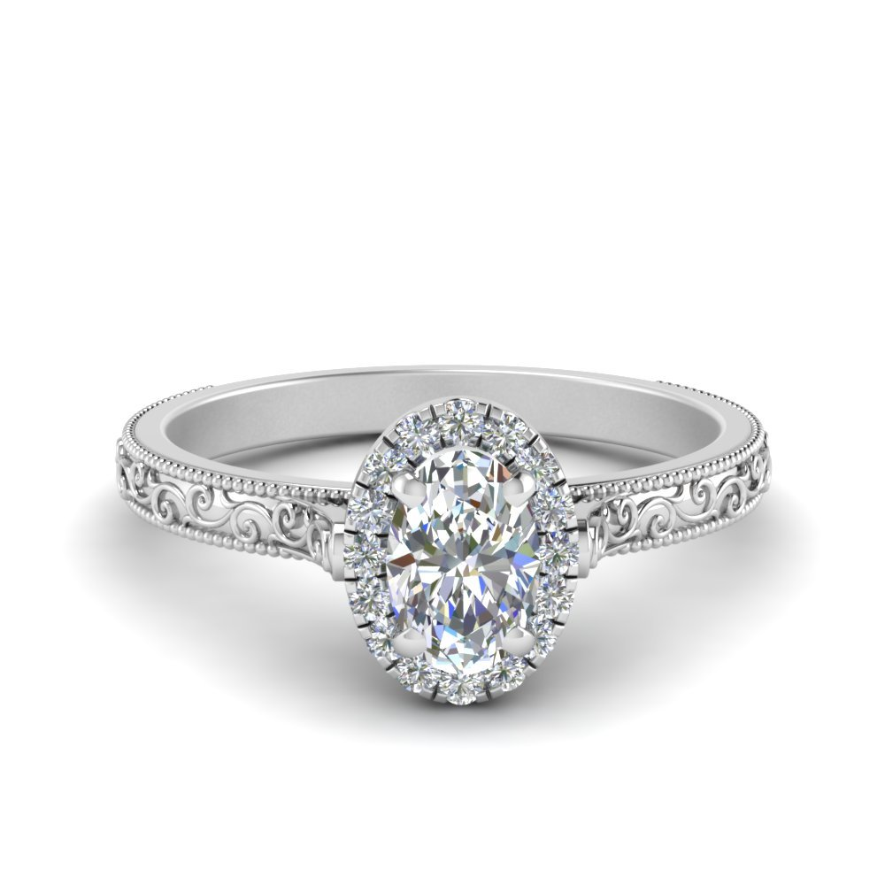 Hand Engraved Oval Shaped Halo Diamond Engagement Ring In 14K White Gold