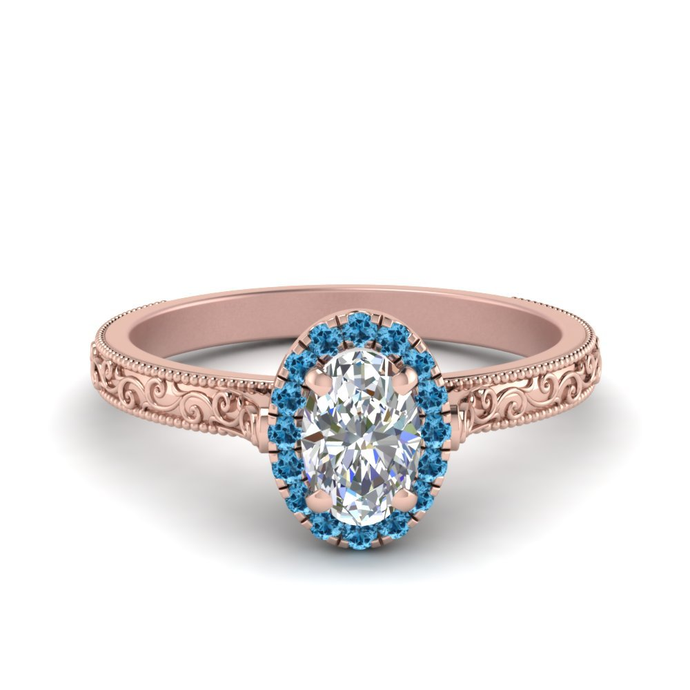 Hand Engraved Oval Shaped Halo Diamond Engagement Ring With Blue Topaz In 14K Rose Gold