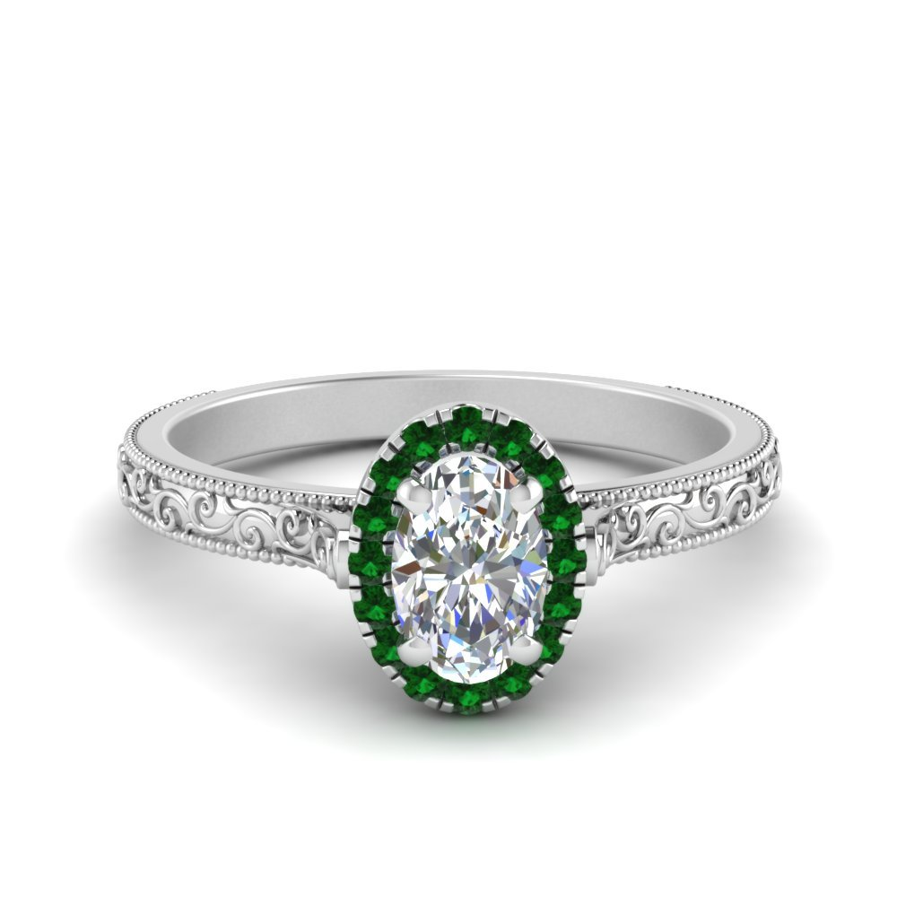 Hand Engraved Oval Shaped Halo Diamond Engagement Ring With Emerald In 950 Platinum