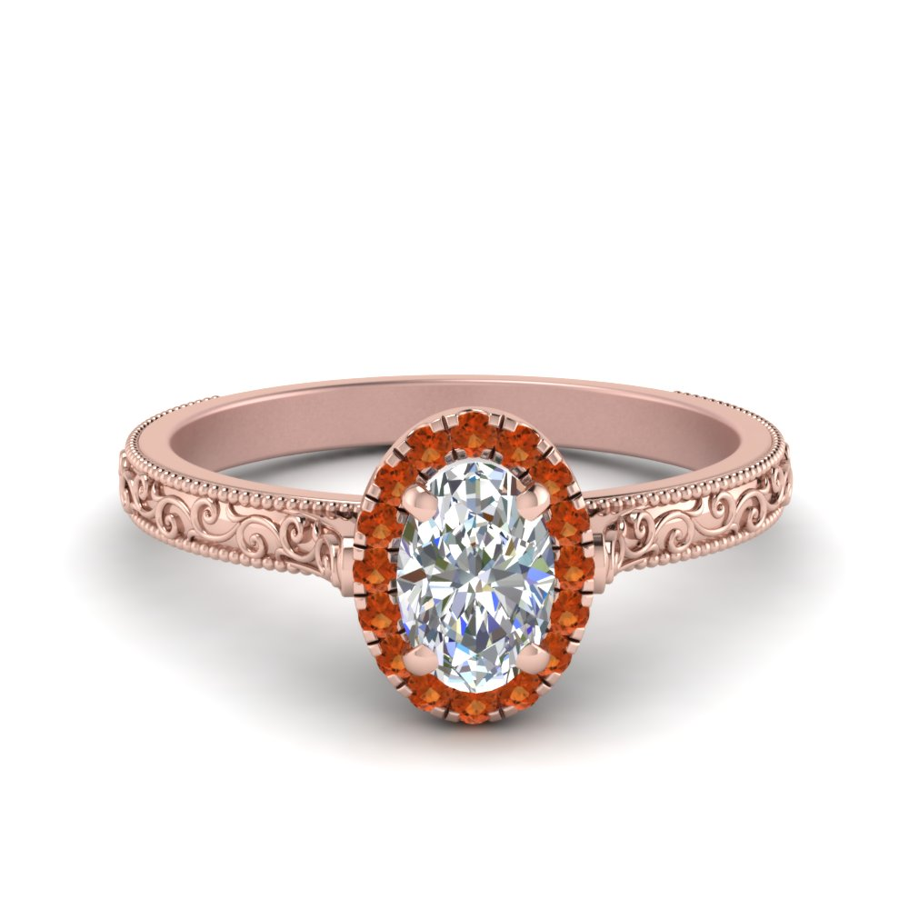 Hand Engraved Oval Shaped Halo Diamond Engagement Ring With Orange Sapphire In 14K Rose Gold