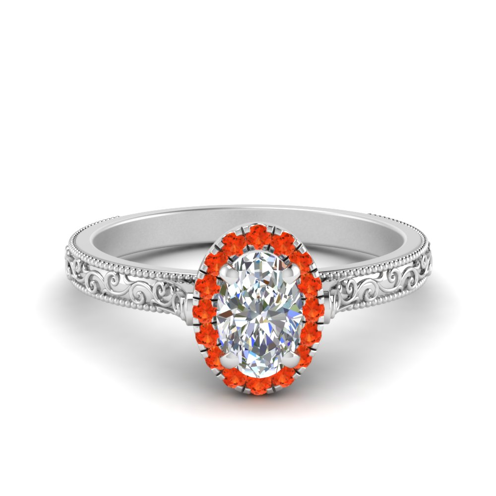 Hand Engraved Oval Shaped Halo Diamond Engagement Ring With Orange Topaz In 14K White Gold