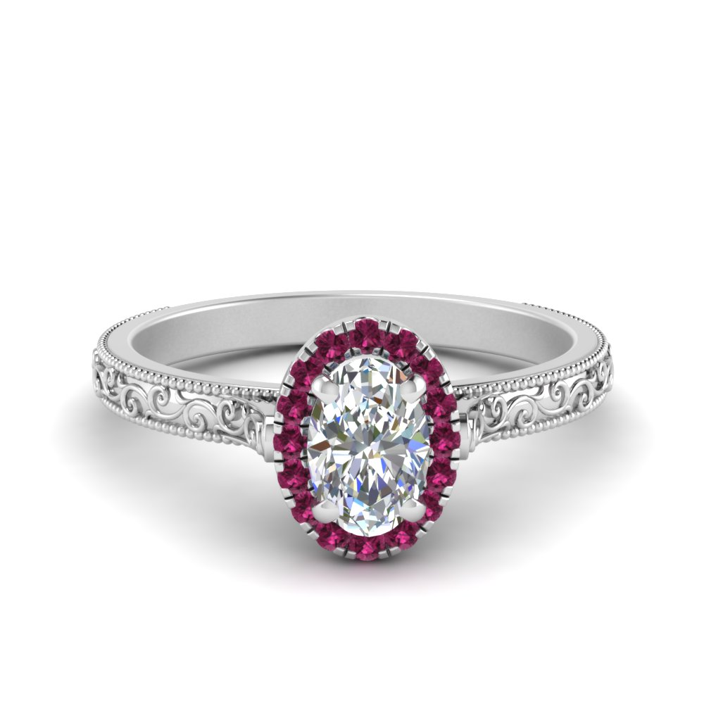 Hand Engraved Oval Shaped Halo Diamond Engagement Ring With Pink Sapphire In 18K White Gold