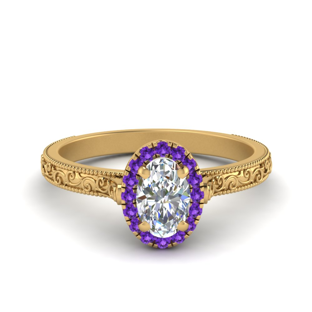 Hand Engraved Oval Shaped Halo Diamond Engagement Ring With Purple Topaz In 18K Yellow Gold