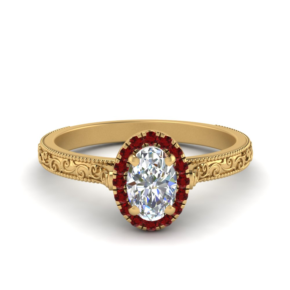 Hand Engraved Oval Shaped Halo Diamond Engagement Ring With Ruby In 14K Yellow Gold