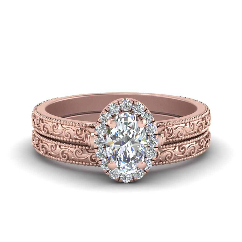 Hand Engraved Oval Shaped Halo Diamond Wedding Ring Set In 14K Rose Gold