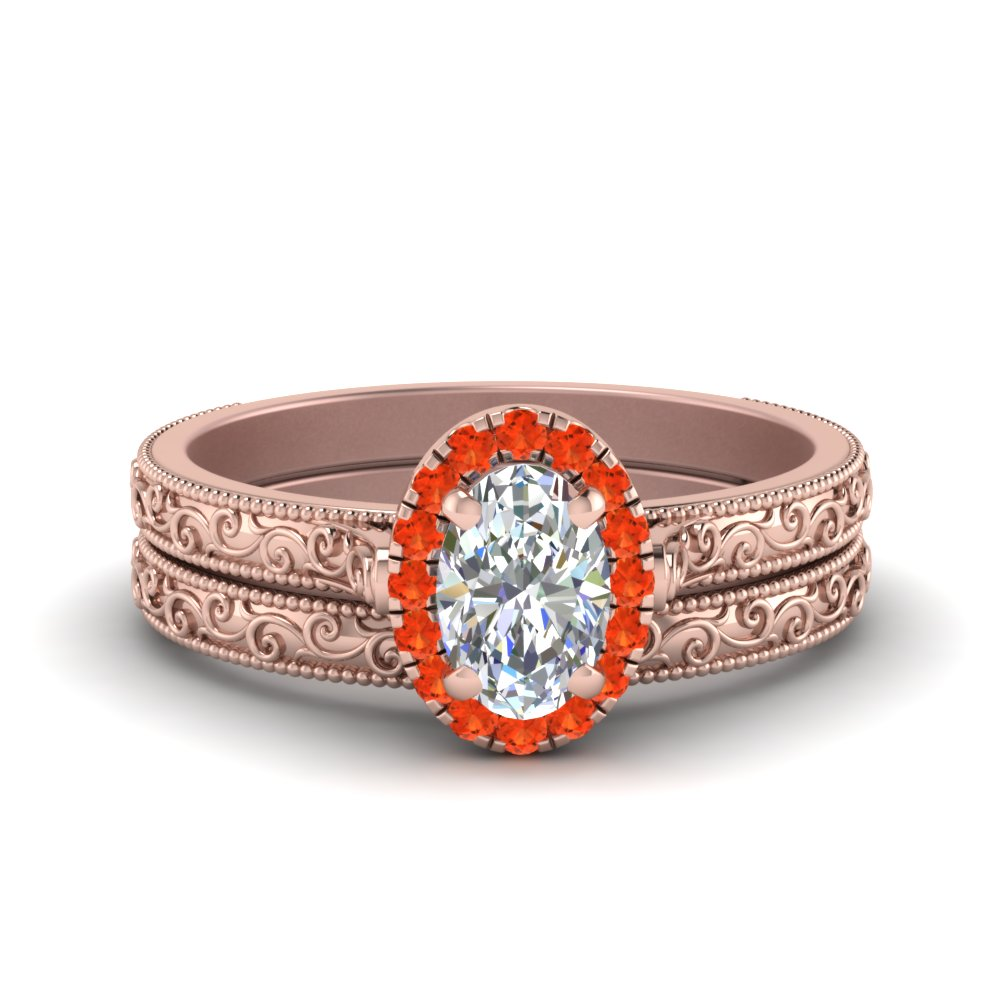 Orange Topaz Halo Wedding Set