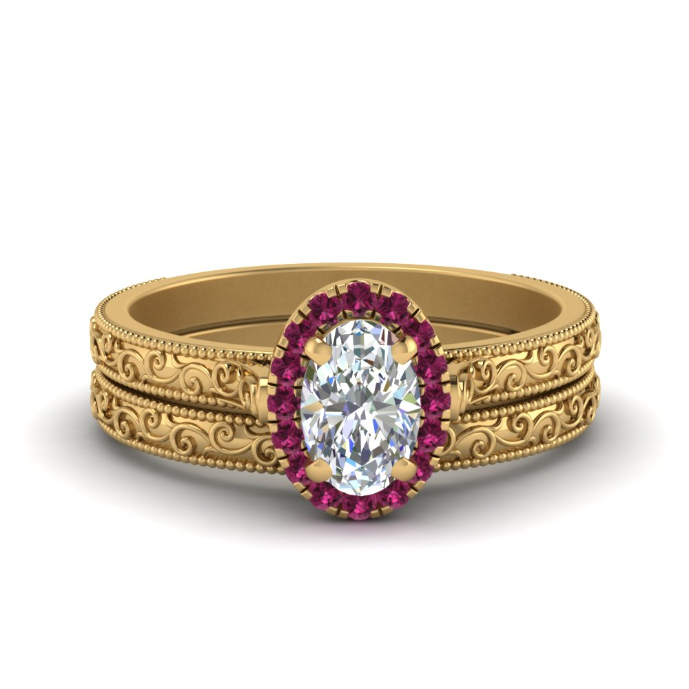 Halo Pink Sapphire Ring And Band