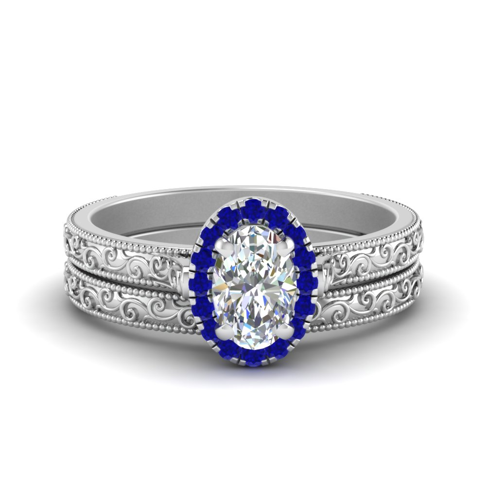 Hand Engraved Oval Shaped Halo Diamond Wedding Ring Set With Sapphire In 14K White Gold
