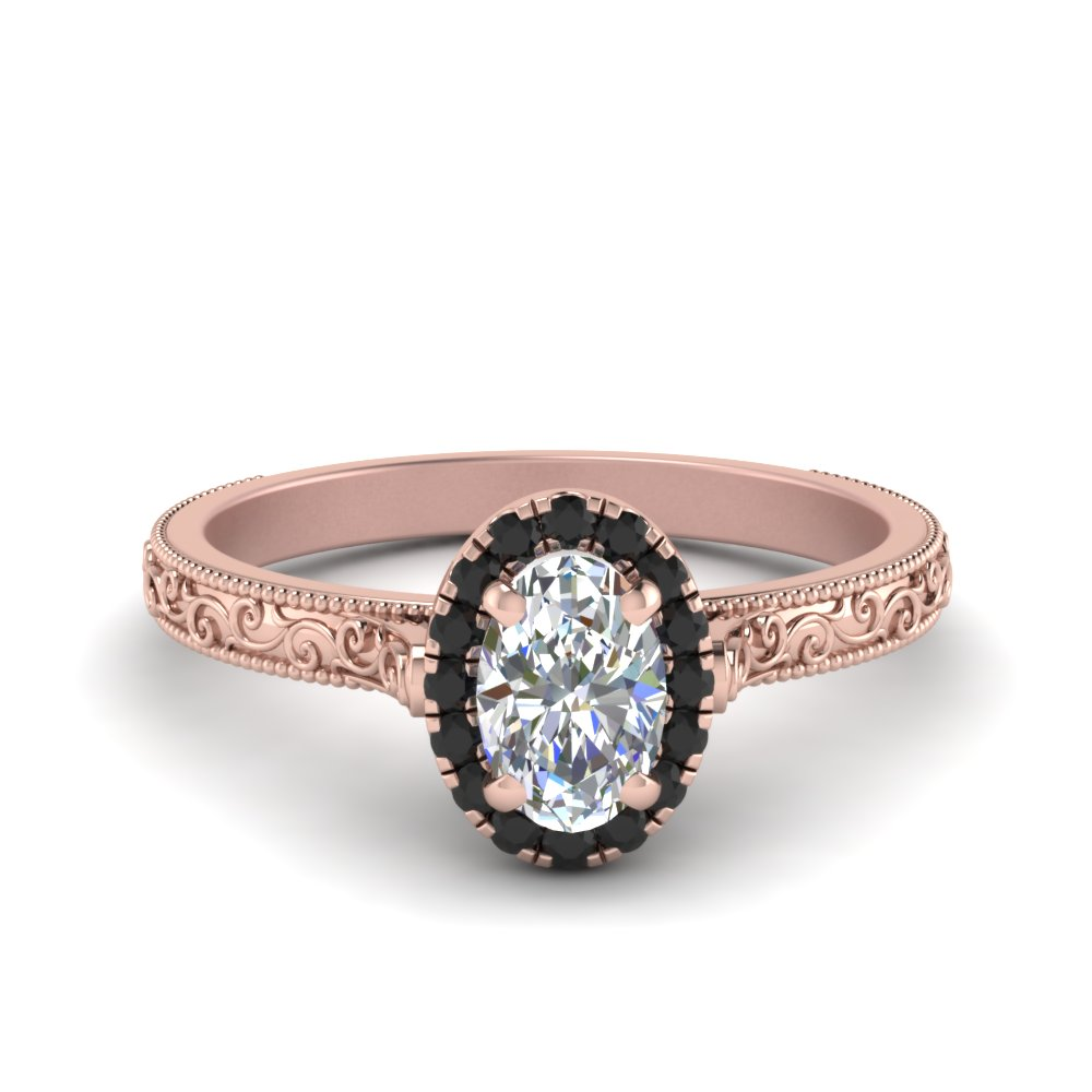 Hand Engraved Oval Shaped Halo Engagement Ring With Black Diamond In 14K Rose Gold