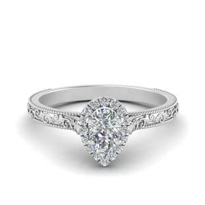 Hand Engraved Pear Shaped Halo Diamond Engagement Ring In 14K White Gold