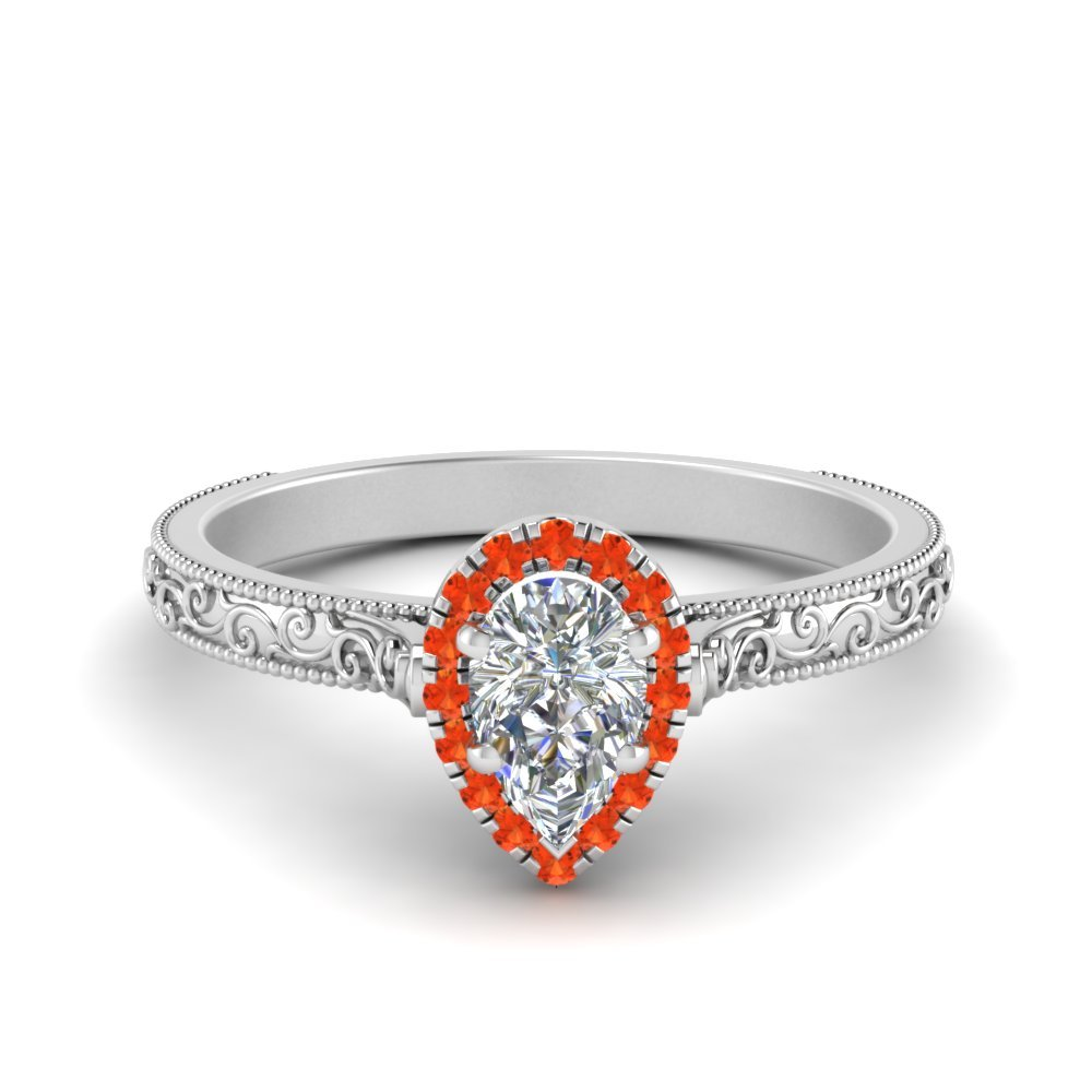 Halo Engraved Orange Topaz Ring