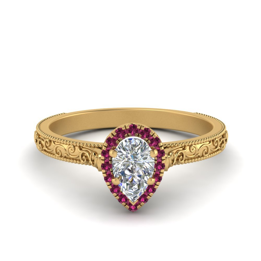 Vintage Halo Pink Sapphire Ring