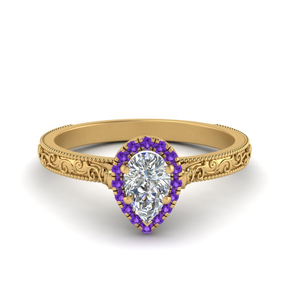 Purple Topaz Halo Vintage Ring