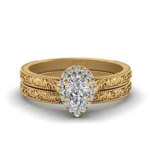 Hand Engraved Pear Shaped Halo Diamond Wedding Ring Set In 14K Yellow Gold