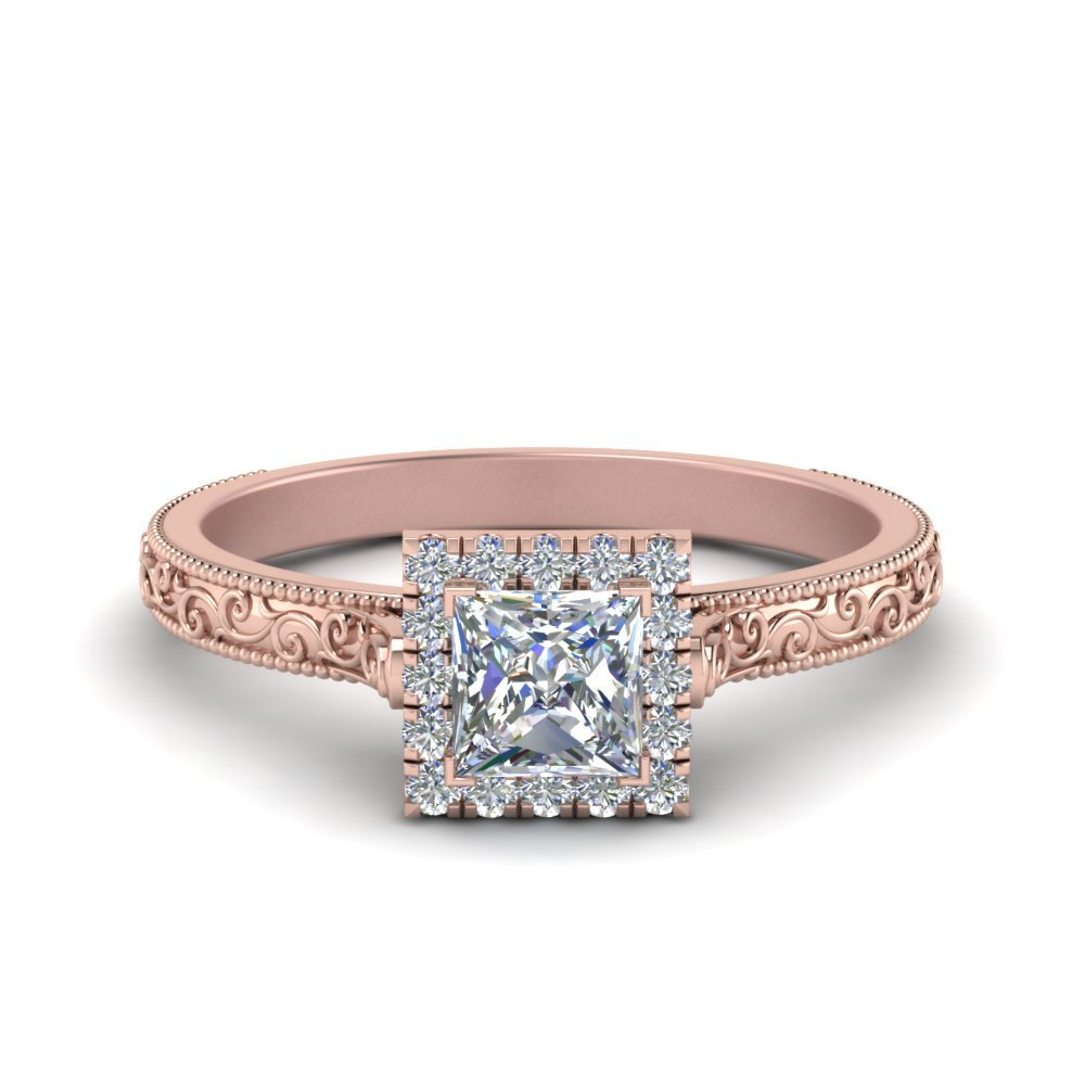 Hand Engraved Princess Cut Halo Diamond Engagement Ring In 14K Rose Gold